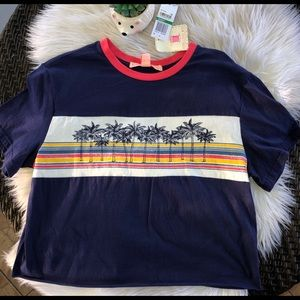 Crop top tshirt NWT palm tree retro look